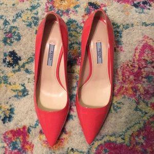 Prada heels 38.5 coral color